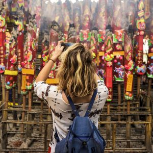 Young Woman Traveler Chinese Temple Concept